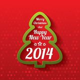 Merry Christmas tree greeting card. 2014. Royalty Free Stock Photo
