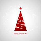 Merry Christmas tree greeting card. Paper design Stock Images