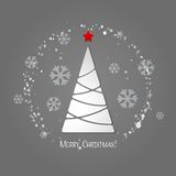 Merry Christmas tree greeting card. Paper design Royalty Free Stock Photos