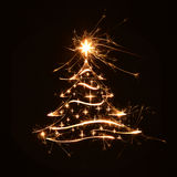 Merry Christmas tree greeting with stars Royalty Free Stock Photo
