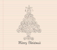 Merry christmas with tree hand draw Stock Photos