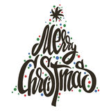 Merry Christmas tree handmade lettering. Merry Christmas handmade lettering in christmas tree Stock Photos