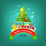 Merry Christmas Tree and happy new year design Royalty Free Stock Image