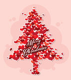 Merry Christmas tree from heart. Merry Christmas vector card with love concept Royalty Free Stock Image