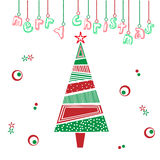 Merry christmas tree illustration Royalty Free Stock Photo