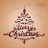 MERRY CHRISTMAS tree lettering Stock Photography