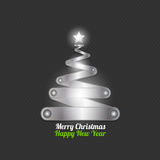 Merry christmas tree made from silver. Abstract background Stock Photo