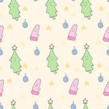 Merry christmas tree and mitten. Cute pattern for the new year Royalty Free Stock Photos
