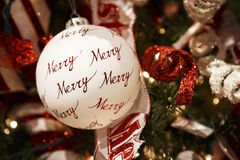 Merry Christmas tree ornament stock photos