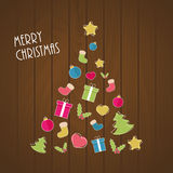Merry Christmas tree. Christmas tree from ornaments on wooden background Royalty Free Stock Images
