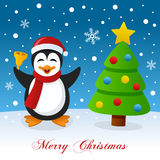 Merry Christmas with Tree and a Penguin Royalty Free Stock Image