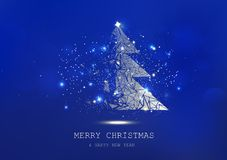 Merry Christmas, tree polygon, confetti, golden glowing particles scatter, poster, postcard Blue luxury in winter background stock illustration