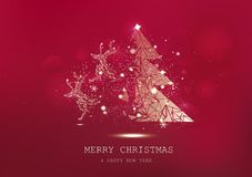Merry Christmas, tree polygon with reindeer fantasy miracle, confetti stars sparkle, golden glowing particles scatter, poster,. Luxury background seasonal royalty free illustration