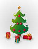 Merry Christmas tree with presents EPS10 file. stock image