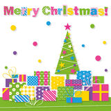 Merry Christmas tree and presents greeting card Stock Photo