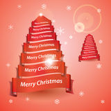 Merry christmas tree from red ribbon banners Stock Photos