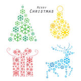 Merry Christmas tree reindeer Gift made from snowflakes Vector Stock Photos