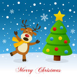 Merry Christmas with Tree and a Reindeer Stock Images