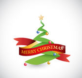 Merry christmas tree and ribbon illustration Royalty Free Stock Photo