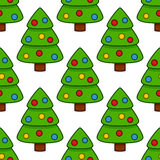 Merry Christmas Tree Seamless Pattern Stock Photos