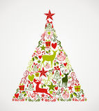 Merry Christmas tree shape full of elements compos. Colorful Merry Christmas tree shape with reindeers and holiday elements composition. EPS10 vector file Stock Photos
