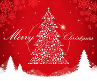 Merry Christmas tree shape. Vector illustration Stock Photo