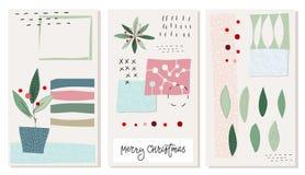 Merry Christmas tree snow winter season card set vector illustration
