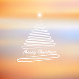 Merry Christmas tree in soft winter background (). Merry Christmas tree in yellow soft winter sky background stock illustration