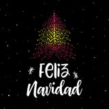 Merry Christmas and Christmas tree with Spanish flag. Vector illustration stock illustration