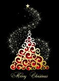 Merry Christmas tree with stars. Star christmas tree decoration winter holiday Stock Image