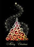 Merry Christmas tree with stars Stock Image