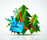 Merry Christmas tree with stickers Royalty Free Stock Photography