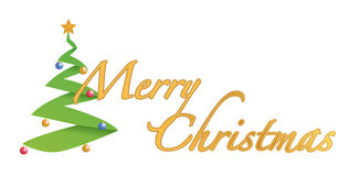 Merry christmas tree text sign illustration Stock Image