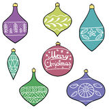 Merry Christmas tree toys with patterns. Set. Stylized. New Year. Vector illustration. Royalty Free Stock Photos