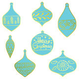 Merry Christmas tree toys with patterns. Set. Stylized. New Year. Vector illustration. stock illustration