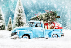 Merry Christmas tree transporter Stock Photography