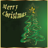 Merry Christmas and tree. Royalty Free Stock Image