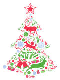 Merry christmas tree with Xmas elements Royalty Free Stock Photo