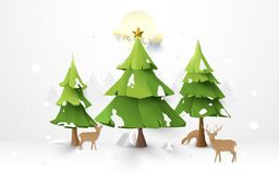 Merry Christmas trees and reindeer with Santa Claus Driving in a Sledge on full moon illustration background Royalty Free Stock Photos