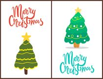 Merry Christmas Trees Set Vector Illustration. Merry Christmas, trees set decorated with stars on their tops and balls with garlands, symbols of winter holiday Royalty Free Stock Photo