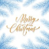 Merry Christmas trendy golden quote calligraphy font on blue frozen ice background for winter holiday design template. Vector Chri. Stmas tree for branch wreath Royalty Free Stock Image