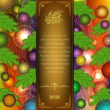 Merry christmas tri fold with christmas balls and fir tree elements Royalty Free Stock Image