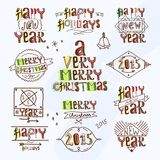 Merry christmas type label Royalty Free Stock Photos