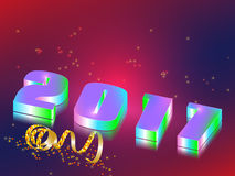 Merry Christmas type. New Year celebration background. 3d figures 2017 with a mirror image.Greeting card template with numbers. Vector illustration Royalty Free Stock Photos