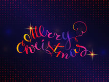 Merry Christmas type. The phrase Merry Christmas on a blue background and glittering texture explosion . Greeting card template with trend hand lettering. Vector royalty free illustration