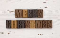 Merry Christmas in Type Set Royalty Free Stock Images