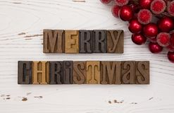 Merry Christmas in Type Set Stock Image