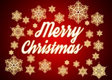 Merry Christmas. Typographic background with snowflakes. Origina Stock Images