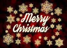 Merry Christmas. Typographic background with snowflakes. Origina Stock Image