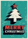 Merry Christmas! Typographic Christmas greeting card design. Grunge vector illustration. vector illustration